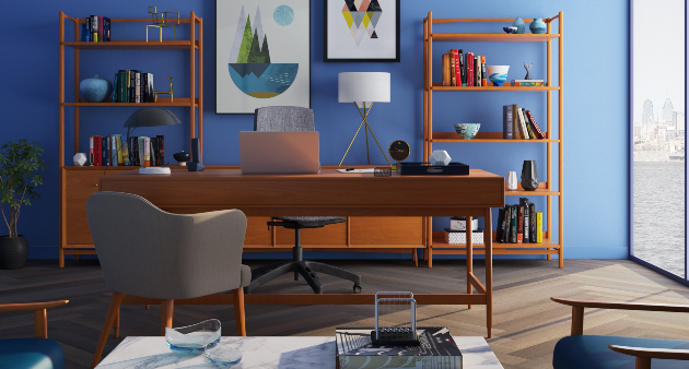 blue wall home office