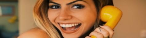 woman yellow phone customer service